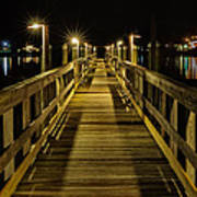 Pier Into The Night Print by Len Saltiel