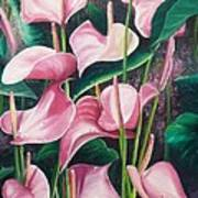 Pink Anthuriums Print by Karin  Dawn Kelshall- Best