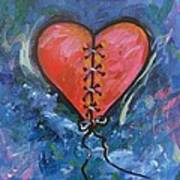 Pink Mended Broken Heart Print by Carol Suzanne Niebuhr