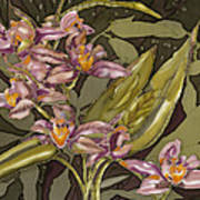 Pink Orchids Print by Artimis Romanelli