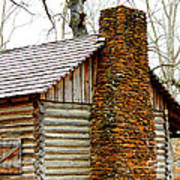Pioneer Log Cabin Chimney Print by Kathy  White
