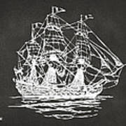 Pirate Ship Artwork - Gray Print by Nikki Marie Smith