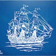 Pirate Ship Blueprint Artwork Print by Nikki Marie Smith