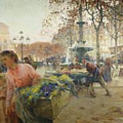 Place Du Theatre Francais Paris Print by Eugene Galien-Laloue