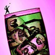 Playing Tennis On A Cup Of Lemonade Little People On Food Print by Paul Ge