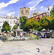 Plaza Bib Rambla Print by Margaret Merry