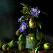 Poires Et Fleurs Print by Theresa Tahara