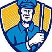 Policeman Police Officer Baton Shield Retro Print by Aloysius Patrimonio