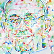 Pope Francis Watercolor Portrait Print by Fabrizio Cassetta