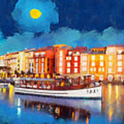 Portofino By Night Print by George Rossidis