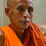 Portrait Of A Buddhist Monk Yangon Myanmar Print by Ralph A  Ledergerber-Photography