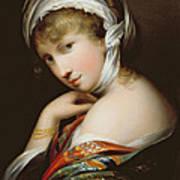 Portrait Of A Lady In Eastern Dress Print by English School