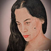 Portrait Of A Long Haired Filipina Beautfy With A Mole On Her Cheek Fade To Black Version Print by Jim Fitzpatrick