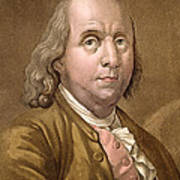 Portrait Of Benjamin Franklin , From Le Print by Gallo Gallina
