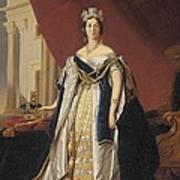Portrait Of Queen Victoria In Coronation Robes Print by Franz Xaver Winterhalter
