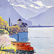 Poster Advertising Rail Travel Around Lake Geneva Print by Emil Cardinaux