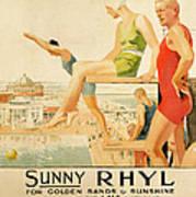 Poster Advertising Sunny Rhyl  Print by Septimus Edwin Scott