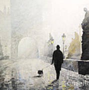 Prague Charles Bridge Morning Walk 01 Print by Yuriy Shevchuk