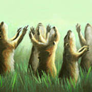 Praising Prairie Dogs Print by Anthony Falbo