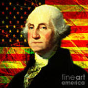 President George Washington V2 Square Print by Wingsdomain Art and Photography