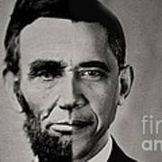 President Obama Meets President Lincoln Print by Doc Braham