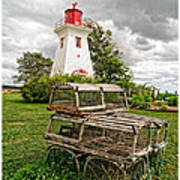 Prince Edward Island Lighthouse With Lobster Traps Print by Edward Fielding