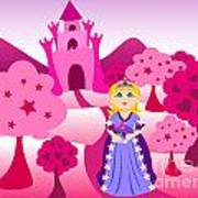 Princess And Pink Castle Landscape Print by Sylvie Bouchard