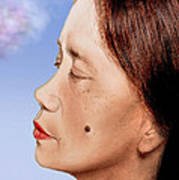 Profile Of A Filipina Beauty With A Mole On Her Cheek Altered Version Print by Jim Fitzpatrick
