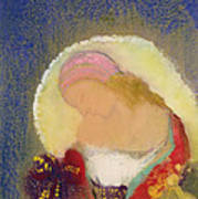Profile Of A Girl With Flowers Print by Odilon Redon