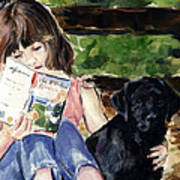 Pup And Paperback Print by Molly Poole