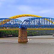 Purple People Bridge And Big Mac Bridge - Ohio River Cincinnati Print by Christine Till