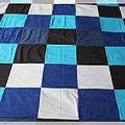 Quilt Blue Blocks Print by Barbara Griffin