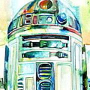 R2-d2 Watercolor Portrait Print by Fabrizio Cassetta