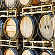 Rack Of Old Oak Wine Barrels Print by Susan  Schmitz