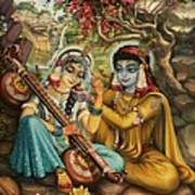 Radha Playing Vina Print by Vrindavan Das