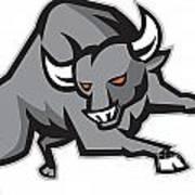 Raging Bull Attacking Charging Retro Print by Aloysius Patrimonio