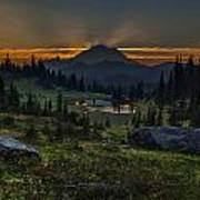 Rainier Sunset Basin Print by Mike Reid