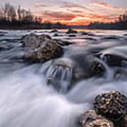 Rapids On Sunset Print by Davorin Mance