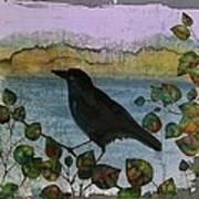 Raven In Colored Leaves Print by Carolyn Doe