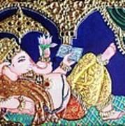 Reading Ganesha Print by Jayashree