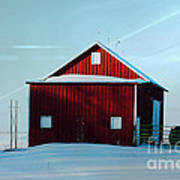 Red Barn During Illinois Winter Print by Luther   Fine Art