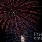 Red Blue Fireworks Print by Jason Meyer