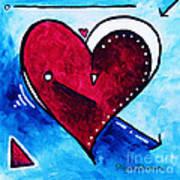 Red Blue Heart Love Painting Pop Art Joy By Megan Duncanson Print by Megan Duncanson