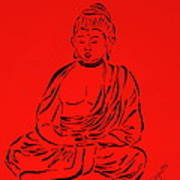 Red Buddha Print by Pamela Allegretto