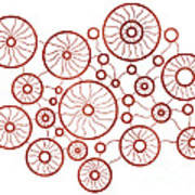 Red Circles Print by Frank Tschakert