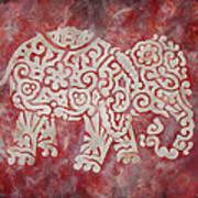 Red Elephant Print by Jennifer Kelly
