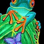 Red-eyed Tree Frog And Butterfly Print by Nick Gustafson