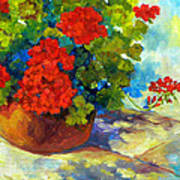 Red Geraniums I Print by Peggy Wilson