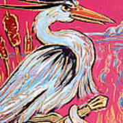 Red Hot Heron Blues Print by Robert Ponzio