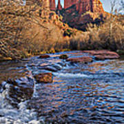 Red Rock Crossing Winter Print by Mary Jo Allen